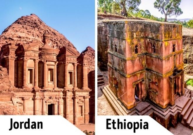 <p> Petra là khu vực khảo cổ học ở tây nam Jordan, đón rất đông khách tới tham quan làm cho chuyến khám phá của bạn không còn nhiều thời gian để tận hưởng vẻ đẹp. Thay vì tới Petra, du khách có thể ghé Lalibela, Ethiopia để ngắm nhìn những nhà thờ, thánh đường đá và đặc biệt là nhà thờ Thánh George. </p>
