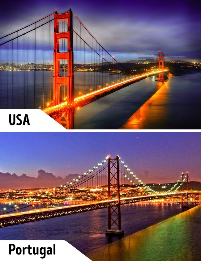 """<p> Cầu Cổng Vàng là một biểu tượng của nước Mỹ và thu hút nhiều du khách. Tại Bồ Đào Nha cũng có một công trình có kiến trúc không khác với cầu Cổng Vàng nhưng ít người biết tới hơn. Cây cầu dây văng """"sinh đôi"""" này có tên khá độc đáo là """"25 de Abril"""".</p>"""