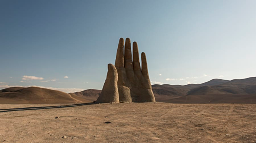 Giant hands sprout up in the middle of the desert in Chile