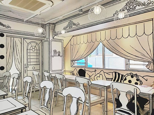 Cafe like stepping out from a comic