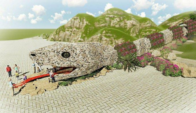 Cự xà lộ phiên bản của rắn hổ mây đang được xây dựng để du khách chiêm ngưỡng.