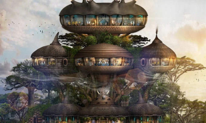 Một trong những chiếc chuồng mà Bensley thiết kế để khách du lịch đến ở. Đây cũng chính là thiết kế cho khách sạn Hilton ở WorldWild. Ảnh: CNN.