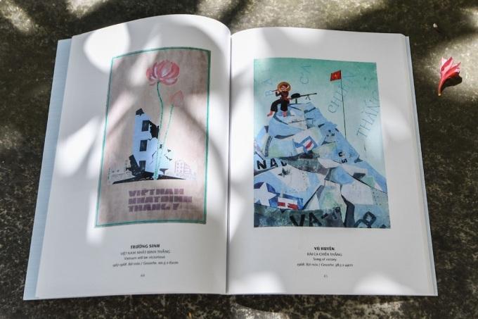 Tranh cổ động in trong cuốn sách mới ra mắt. Cả hai tác phẩm này đều vẽ năm 1968 bằng chất liệu bột màu, với tên gọi là Việt Nam nhất định thắng (trái) và Bài ca chiến thắng.