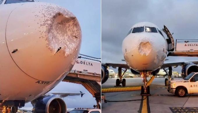 Máy bay lõm đầu vì mưa đá