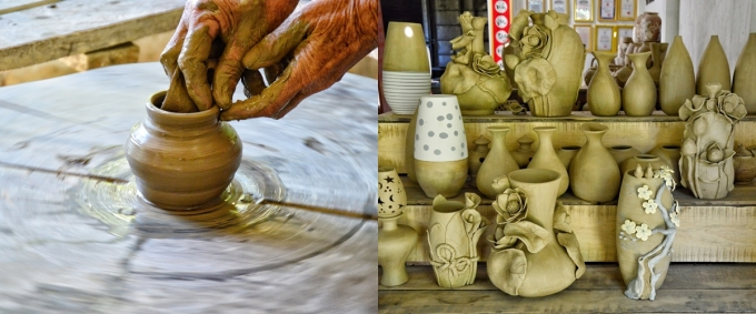 Du khách có thể tìm hiểu công đoạn chế tác gốm và mua về làm quà. Ngoài ra, nơi đây còn loạt sản phẩm làng nghề nổi tiếng như mộc điêu khắc Mỹ Xuyên, đệm bàng Phò Trạch...