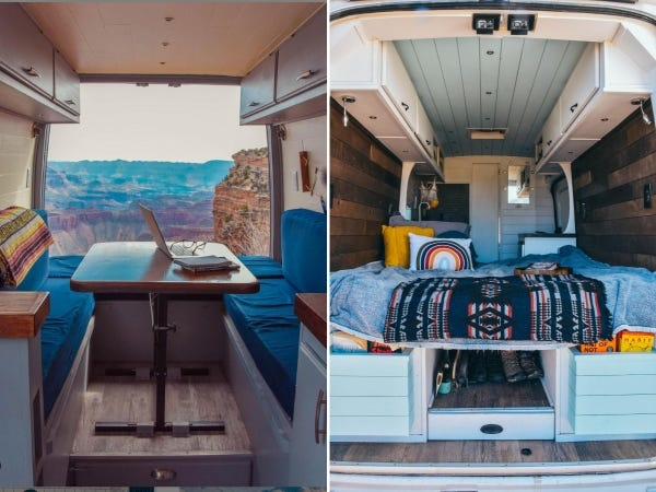 Nhìn chiếc xe van theo hai góc khác nhau, từ bên trong ra ngoài (trái) và từ ngoài vào trong (phải). Ảnh: Instagram.