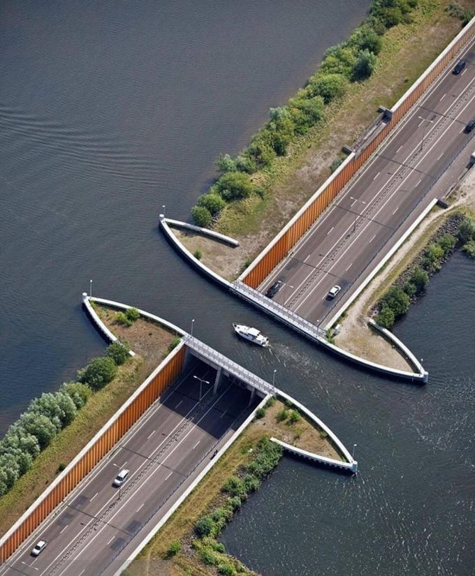 The bridge 'cut in two' on the highway, but the car still passed