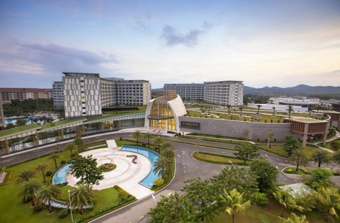 Tổ hợp Corona Resort & Casino Phú Quốc nhìn từ trên cao.