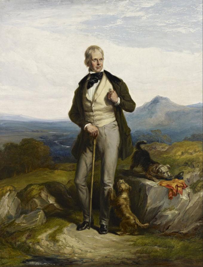 Walter Scott được vua Anh phong nam tước. Nhiều tác phẩm của ông được coi là kinh điển trong nền văn học Scotland và Vương Quốc Anh. Một số tác phẩm tiêu biểu của ông là tiểu thuyết Waverley, Old Mortality... Ảnh: William Allan