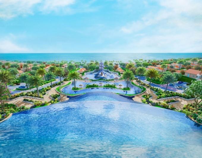 NovaHills Mui Ne Resort & Villas sở hữu cụm hồ bơi nhiều tầng rộng 1.500 m2, mang lại cho khách lưu trú nhiều trải nghiệm khó quên.