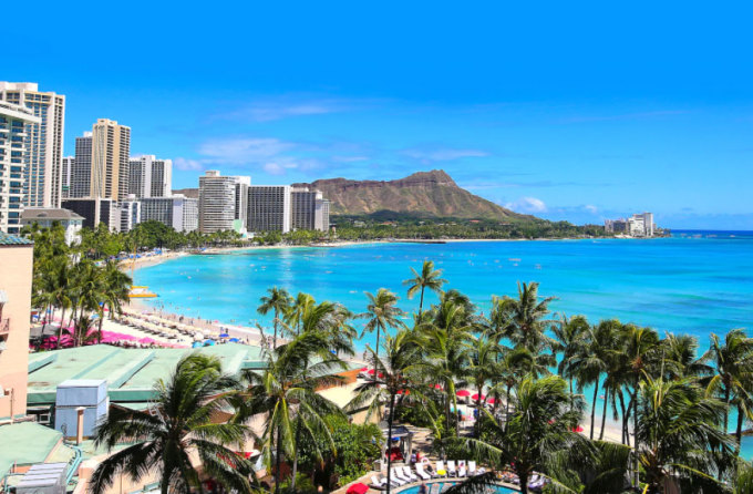 Bãi biển nổi tiếng Waikiki ở Honolulu, Hawaii. Ảnh: iStock