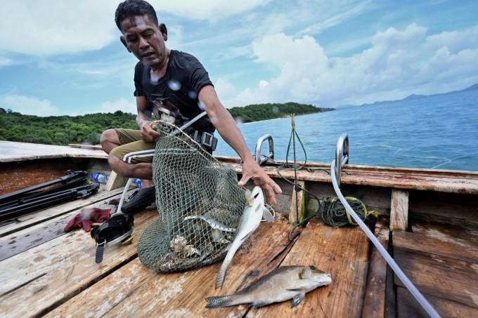 Thành quả đánh bắt của ngư dân Sanan Changman ở khu vực ngoài khơi biển Phuket