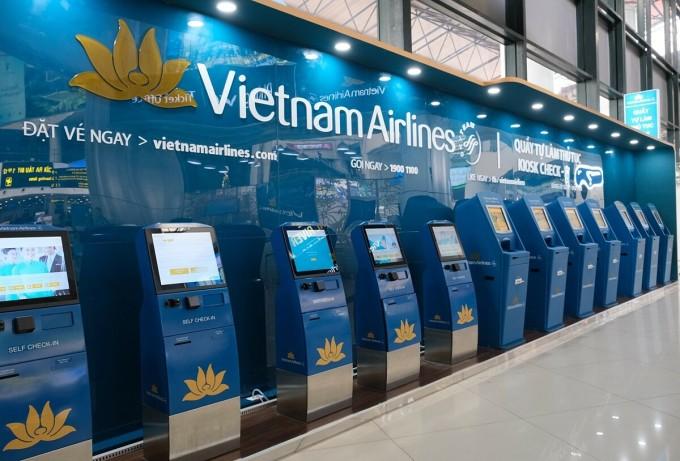 Kiosk check-in tại sân bay. Ảnh: Vietnam Airlines.