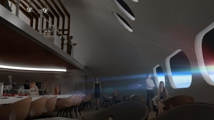 Bản thiết kế cho thấy nội thất bên trong sang trọng không kém gì các khách sạn thông thường. Nhưng nó đặc biệt hơn với một cửa sổ để du khách thuê phòng có thể nhìn ra ngoài khoảng không rộng lớn của vũ trụ, ngắm các vì sao ở vị trí độc đáo hơn.