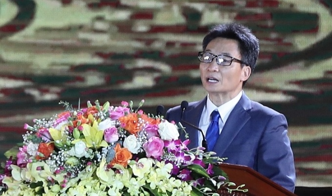 Phó Thủ tướng Chính phủ Vũ Đức Đam phát biểu chỉ đạo trong buổi lễ. Ảnh: Thúy Hà.