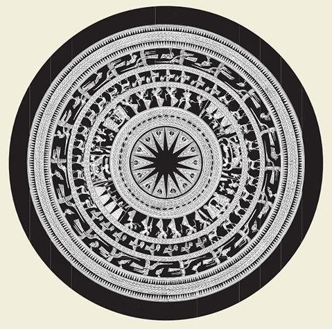Hoa văn trang trí trên mặt trống đồng Ngọc Lũ. Ảnh: Bảo tàng Lịch sử Quốc gia