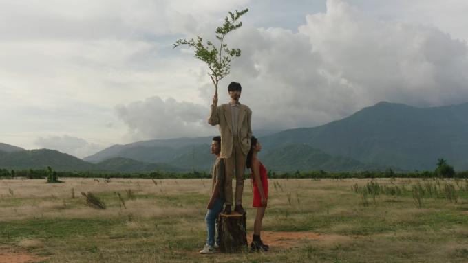 Chính bối cảnh đơn giản đã giúp làm nổi bật chủ thể là cái cây cô đơn Đen Vâu.