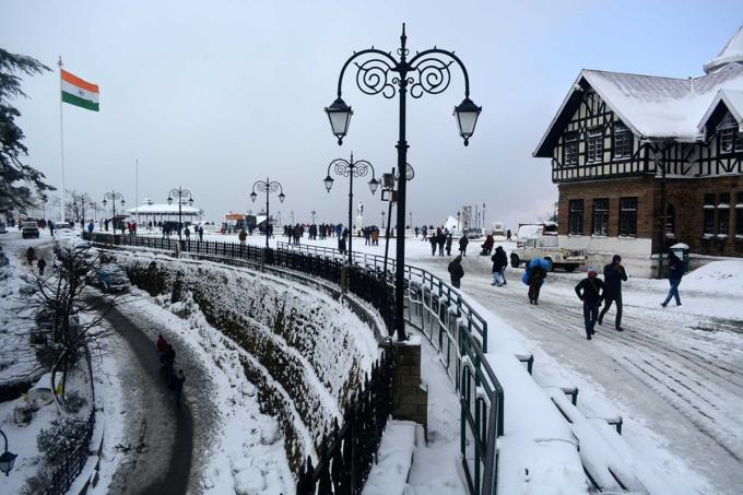 Thành phố Shimla đẹp tinh khôi tựa trời Âu trong tuyết trắng. Ảnh: Global Times
