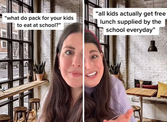 Điều tiếp theo khiến cô gái trẻ sốc khi biết là các bậc cha mẹ không phải chuẩn bị bữa trưa cho con họ khi tới trường, cũng không cần đóng tiền để con mình có thể ăn uống. Vì mọi đứa trẻ đều được nhận bữa trưa miễn phí tại trường.