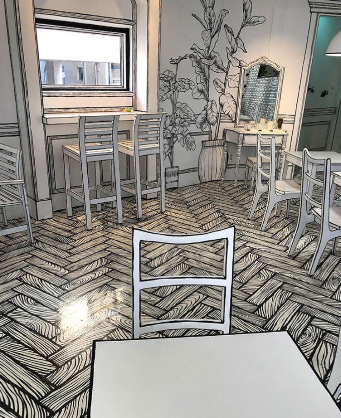 Quán cà phê 2D ở Seoul này từng khiến du khách quốc tế háo hức ghé thăm vì nội thất của nó khiến mọi người có cảm giác ngỡ mình đang bước vào một cuốn truyện tranh. Hammer cho biết mình và Guillaume đã đến thăm nơi này. Ảnh: Reddit