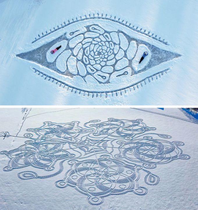 Vào mùa đông, khi băng tuyết bao phủ kín các mặt hồ, bạn có thể thoải mái thể hiện sự sáng tạo của mình bằng cách tạo nên các bức vẽ bằng tuyết của mình. Ảnh: Twitter