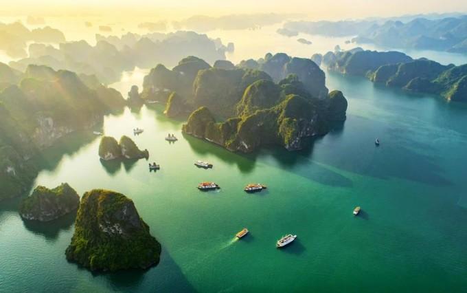 Ha Long Bay seen from above.  Photo: Sun Group