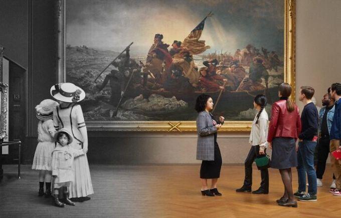 Trên ảnh là khách tới tham quan Viện bảo tàng Mỹ thuật Metropolitan tại New York và đang đứng trước bức tranh Washington Crossing The Delaware vào hai năm 1910-2019. Tác giả bức tranh nổi tiếng này là họa sĩ người Mỹ gốc Đức Emanuel Leutze. Ảnh: Reddit
