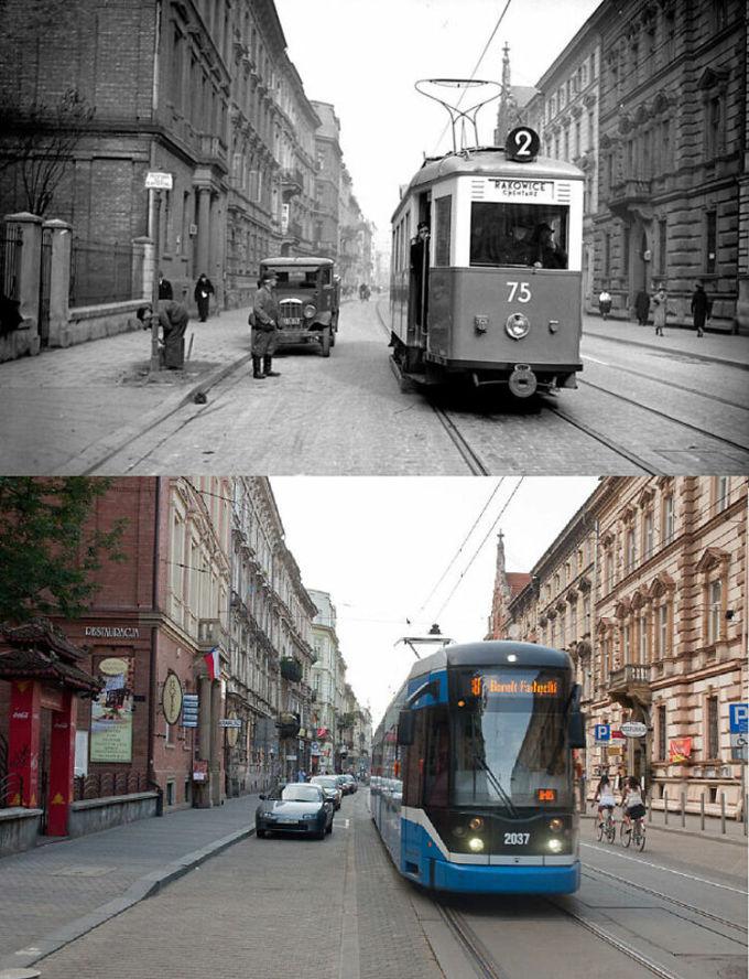 Đường phố Kraków, Ba Lan năm 1939 và những năm 2010. Ảnh: Reddit