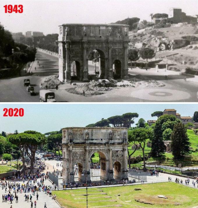 Khải hoàn môn  Constantine ở Rome, Italy năm 1943 và 2020. Ảnh: Reddit