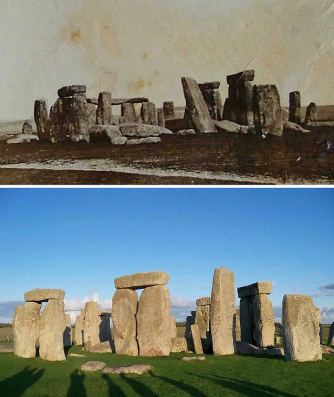 Vòng tròn đá bí ẩn Stonehenge của Anh vào năm 1877 và 2019. Ảnh: Reddit