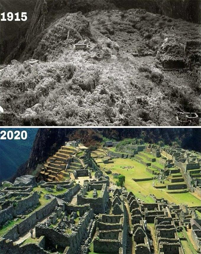 Thánh địa Machu Picchu, Peru được chụp vào năm 1915 và 2020. Ảnh: Reddit