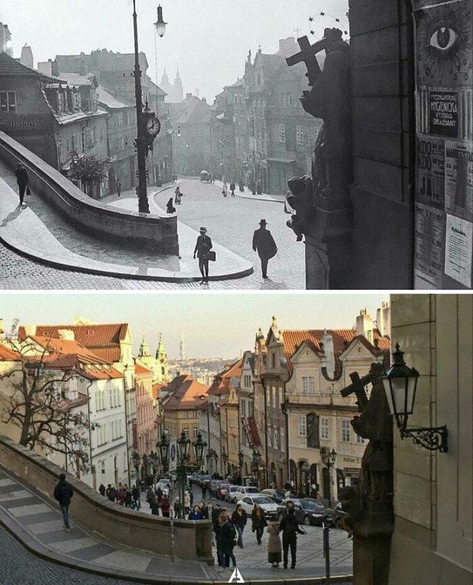 Bức ảnh này được chụp dưới chân thành cổ ở Praha 1, cộng hòa Czech vào năm 1910 và 2020. Ảnh: Reddit