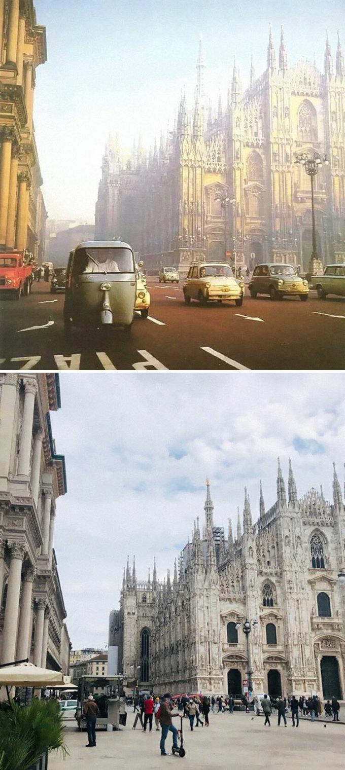 Milan, Italy những năm 1950 và 2021. Ảnh: Reddit