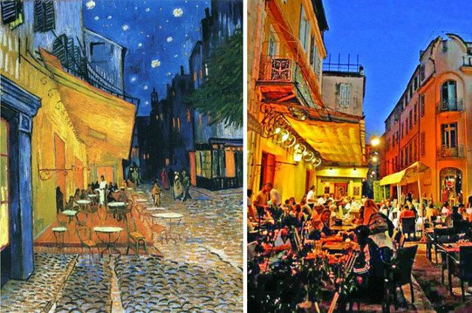 Bên trái là bức tranh Cà phê vỉa hè trong đêm (