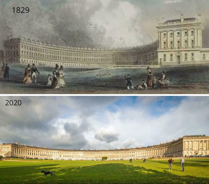 Trên ảnh là Khu toà nhà Hoàng gia hình bán nguyệt (Royal Crescent) ở Bath, Anh được chụp vào năm 1829 và 2020. Ảnh: Reddit